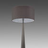 Polished Nickel 'aisone' Diamond Table  Lamp With Grey Drum Shade