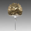 "White Table Lamp With Brushed Brass ""Aluvia"" Leaves Shade"