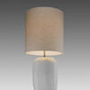 Tall Opal White Glass 'cubistic' Table Lamp & Cream Cylinder Shade