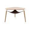 "Oak Wood ""Hang Out"" Triangular Tri Leg Coffee Table With ( H: 49cm L: 75cm W: 73cm )"