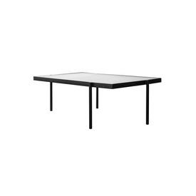 "Tall Black Metal Rect ""Tab"" Coffee Table with Square Pattern Glass Top"