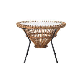 "Circ Cane ""Sputnik"" Coffee Table on Black Legs with Glass Top"