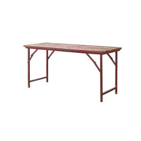 Red Distressed & Rusted Metal Trestle Table