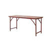 Red Distressed & Rusted Metal Trestle Table ( H: 73cm L: 154cm W: 62cm )