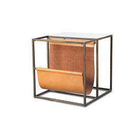 Square Bronze Metal, White Marble & Tan Leather Lamp Table with Magazine Rack