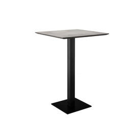 "Square Grey Mineral Top ""Pillar"" Poser Table on Black Metal Base"