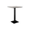 Square Grey Mineral Top 'pillar' Poser Table On Black Metal Base (70cm X 70cm X 100cm H)