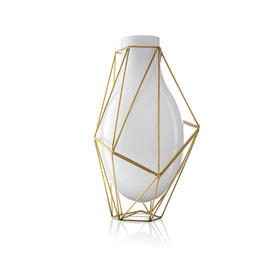 "39Cm White Glass & Gold ""Framework"" Vase"