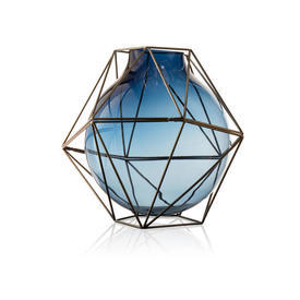 "Blue Glass & Steel ""Framework"" Vase"