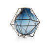 23cm Blue Glass & Steel 'framework' Vase