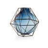 23cm Blue Glass & Steel 'framework' Vase