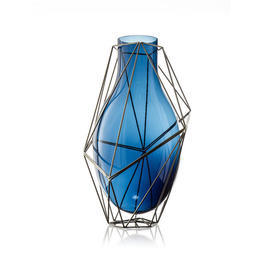 "39Cm Blue Glass & Steel ""Framework"" Vase"