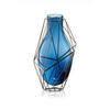 39cm Blue Glass & Steel 'framework' Vase