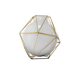 "23Cm White Glass & Gold ""Framework"" Vase"
