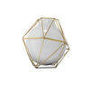 23cm White Glass & Gold 'framework' Vase