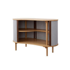 "Shaped Oak Wood ""Audacious"" Sideboard with Silver Grey Tambour Doors"