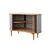 Shaped Oak Wood 'audacious' Sideboard With Silver Grey Tambour Doors