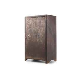 Rusted Metal Single Door Cabinet