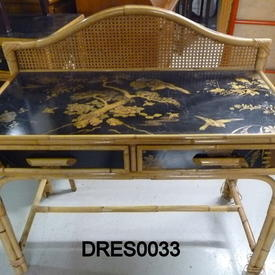 Oriental Bamboo / Black Floral / Bird Patt 2 Drawer Dressing Table