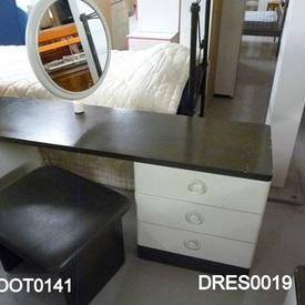 70'S Stag Off White & Grey Oak 3 Drawer Dressing Table