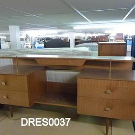 Medium Oak & Brass Handle 4 Drawer Dressing Table with Shelf