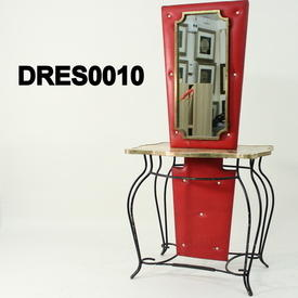 50'S Red Vinyl Horse & Carriage Patt Vanity Unit with Mirror