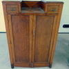 40's Oak 2 Door 2 Drawer Shaped Top Tallboy