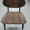 50's G Plan Black & Tola Dining Chair, Patterned Seat