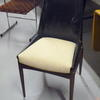 70's Black Vinyl/Cream Seat Rosewood Leg Occasional Dining Chair