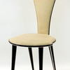 50's Cream Vinyl /Black Trim Hi Back  Dining Chair