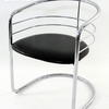 70's Black & Chrome Tub Style  Dining Chair