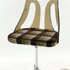 Brown Check Fabric Seat Smoked Perspex Back Dining Chair