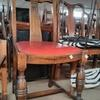 40's Oak Bulbous Front Leg Red Vinyl Seat Fan Back Occ Dining Chair