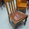 40's Medium Oak Carved Stickback Red Vinyl Seat Chair