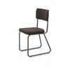 Brown Stripe Fabric Brown Metal Tubular Skid Base Dining Chair