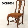 Polished Oak Queen Anne Style Black Vinyl Seat Occ Chair