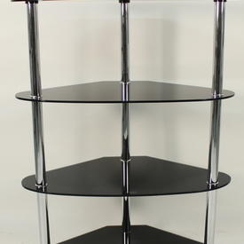 Chrome  And Black Glass 4 Tier Corner Shelf Unit
