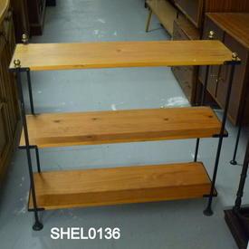 Pine & Black 3 Tier Open Shelf Unit