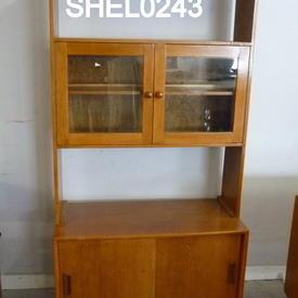 70'S 6' Teak 2 Door/2 Glass Door & Open Shelf Room Divider  (50S)