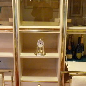 Zevi Peach/Brass & Smoked 200cm X 58cm 4 Drawer Wall Unit  , (Reproduction)