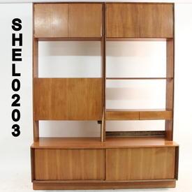 """6'6"""" X 6' Teak 3 Part 7 Door Open Shelf Cocktail Wall Unit  (50S)"""