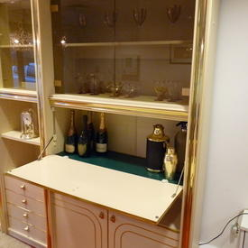 Zevi Peach & Brass & Smoked200cm X 108cm Cocktail Wall Unit  , (Reproduction)