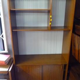 """5' 9"""" X 3' Teak Formica 2 Sliding Door & Open Schreiber Shelf Unit"""