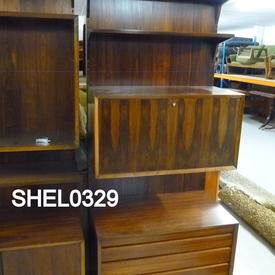 "7' X 2'6"" Marshal Rosewood 4 Drawer Drop Front Shelf Unit"