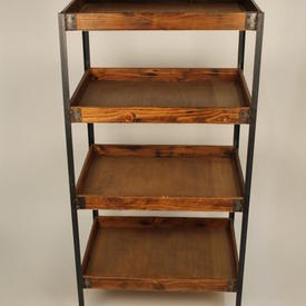 "2' X 18"" 4 Tier Teak Open Shelf Unit Black Metal Frame"