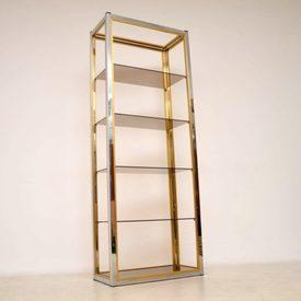 Zevi Brass & Chrome 5 Tier Glass Shelf Display Unit