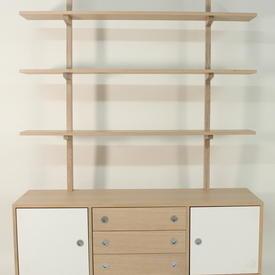 190Cmx140Cmx50Cmsoaped Oak/White 3 Drawer/2 Door Hudson Open Shelf Unit