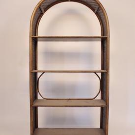 Dark Bamboo & Rattan Edge 3 Tier Shelf 6' X 3' Dome Top Shelf Unit