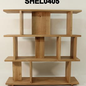 Oiled Solid Oak 3 Tier Staggered Shelving Unit