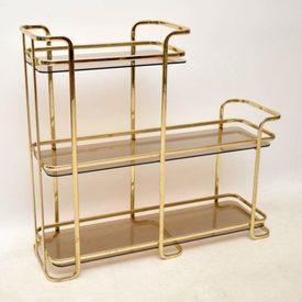 Vintage Italian Brass  & Glass 3 Tier Side Table / Shelf